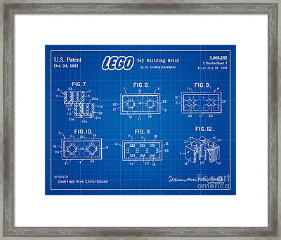 1961 Lego Building Blocks Patent Art 4 Framed Print by Nishanth Gopinathan