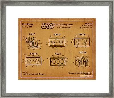 1961 Lego Building Blocks Patent Art 6 Framed Print