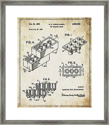 1961 Lego Patent Framed Print by Bill Cannon