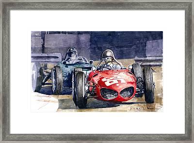 1961 Monaco Gp #36 Ferrari 156 Ginther  #18 Brm Climax P48 G Hill Framed Print by Yuriy Shevchuk