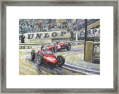1961 Monaco Gp Ferrari 156 #40 Trips #36 Ginther Framed Print by Yuriy Shevchuk