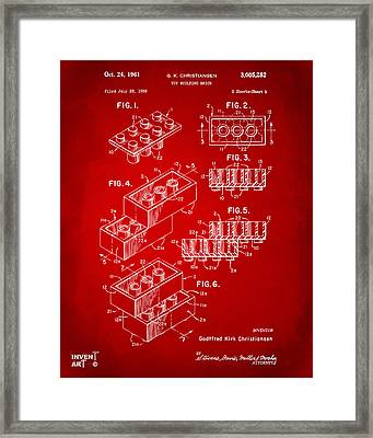 1961 Toy Building Brick Patent Art Red Framed Print