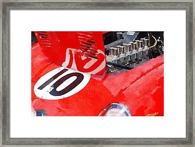 1962 Ferrari 250 Gto Engine Watercolor Framed Print