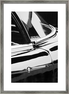 1962 Mercedes-benz 300sl Roadster Emblem -0663bw Framed Print by Jill Reger