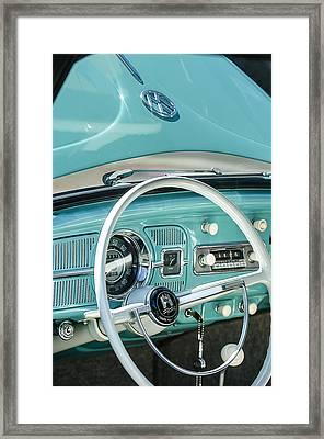 1962 Volkswagen Vw Beetle Cabriolet Steering Wheel Framed Print by Jill Reger