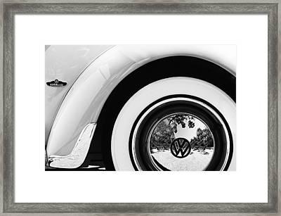 1962 Volkswagen Vw Beetle Cabriolet Wheel Emblem Framed Print by Jill Reger