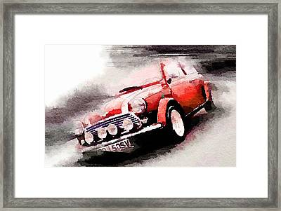 1963 Austin Mini Cooper Watercolor Framed Print by Naxart Studio