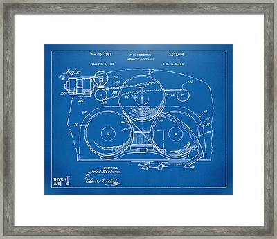 1963 Automatic Phonograph Jukebox Patent Artwork Blueprint Framed Print by Nikki Marie Smith