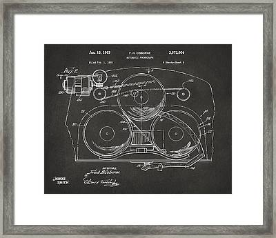 1963 Automatic Phonograph Jukebox Patent Artwork - Gray Framed Print by Nikki Marie Smith