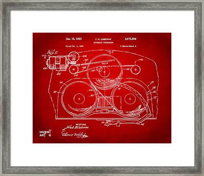 1963 Automatic Phonograph Jukebox Patent Artwork Red Framed Print by Nikki Marie Smith