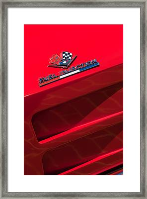 1963 Chevrolet Corvette Sting Ray Split-window Race Car Fuel Injection Emblem Framed Print