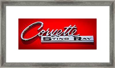 1963 Chevy Corvette Stingray Emblem Framed Print by David Patterson