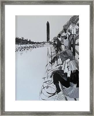 1963 D.c. Monument And Reflecting Pond Framed Print by Leslie Byrne
