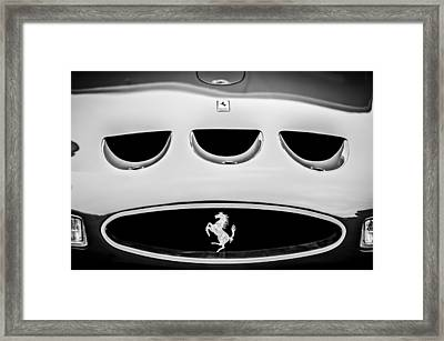 1963 Ferrari 250 Gto Grille Emblem -1753bw Framed Print