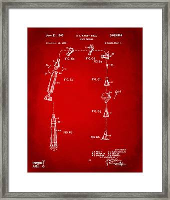 1963 Space Capsule Patent Red Framed Print