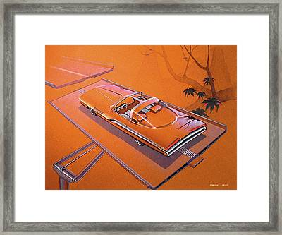 1963 Turbine Show Car  Plymouth Concept Car Vintage Styling Design Concept Rendering Sketch Framed Print by John Samsen