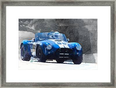 1964 Ac Cobra Shelby Racing Watercolor Framed Print by Naxart Studio