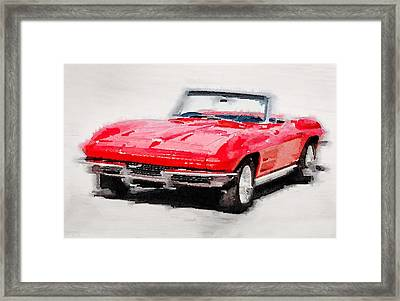 1964 Corvette Stingray Watercolor Framed Print