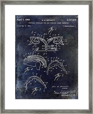 1964 Football Shoulder Pads Patent Blue Framed Print