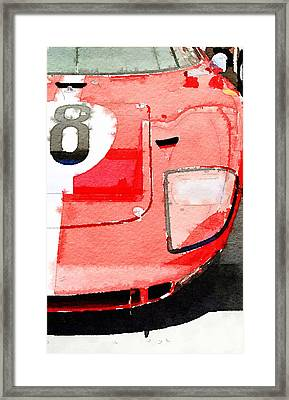 1964 Ford Gt40 Front Detail Watercolor Framed Print by Naxart Studio