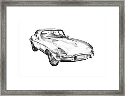 1964 Jaguar Xke Antique Sportscar Illustration Framed Print by Keith Webber Jr