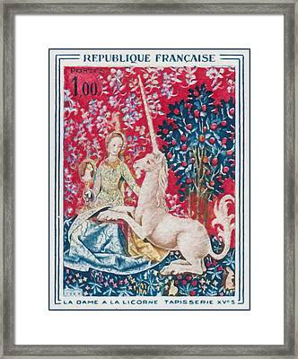 1964 Lady With The Unicorn Tapestry Fifteenth S Framed Print by Lanjee Chee