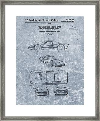 1964 Porsche Patent Blue Framed Print by Dan Sproul