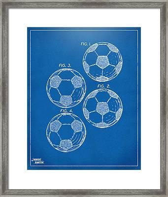 1964 Soccerball Patent Artwork - Blueprint Framed Print by Nikki Marie Smith