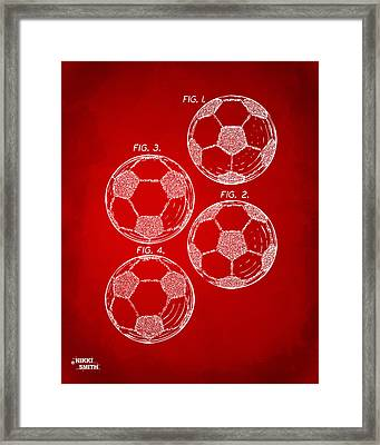 1964 Soccerball Patent Artwork - Red Framed Print by Nikki Marie Smith