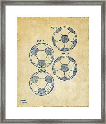1964 Soccerball Patent Artwork - Vintage Framed Print by Nikki Marie Smith