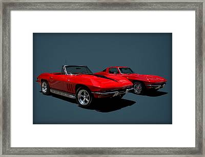 1965 Corvette Convertible And 1964 Corvette Stingray Framed Print by Tim McCullough
