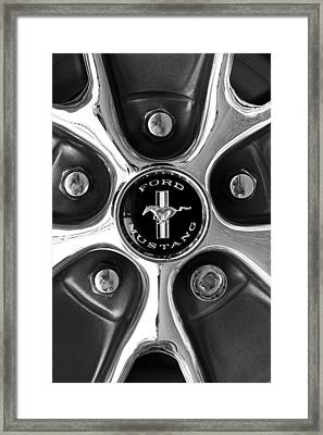1965 Ford Mustang Gt Rim Black And White Framed Print by Jill Reger