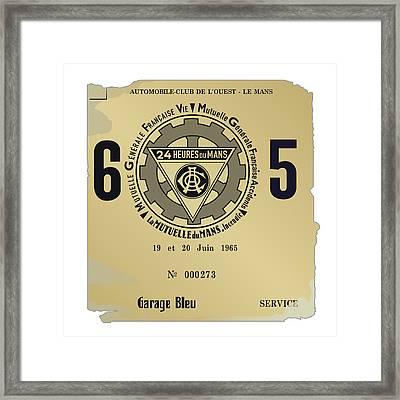 1965 Le Mans Poster Framed Print by Alain Jamar