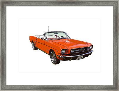 1965 Red Convertible Ford Mustang - Classic Car Framed Print