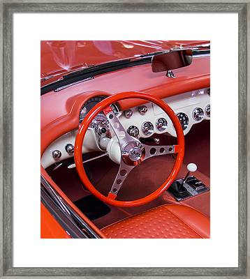 1965 Sting Ray Corvette Cabin And Steering Wheel Framed Print