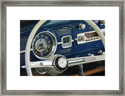 1965 Volkswagen Vw Beetle Steering Wheel Framed Print by Jill Reger