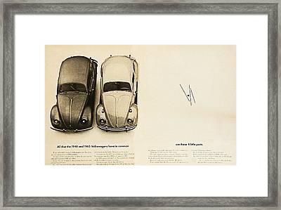 1965 Vw Beetle Advert Framed Print