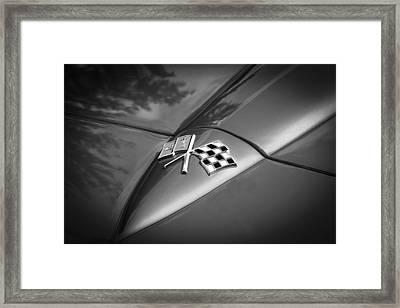 1966 Chevrolet Corvette Coupe Emblem  Bw Framed Print