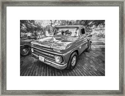 1966 Chevy C10 Pick Up Truck Painted Bw Framed Print by Rich Franco