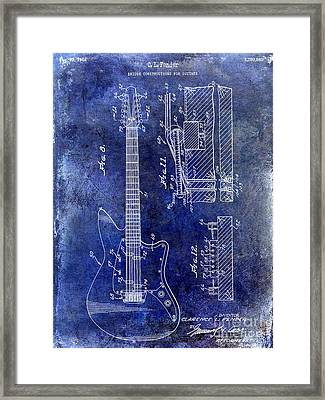 1966 Fender Guitar Patent Drawing Blue Framed Print