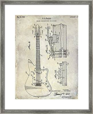 1966 Fender Guitar Patent Drawing  Framed Print