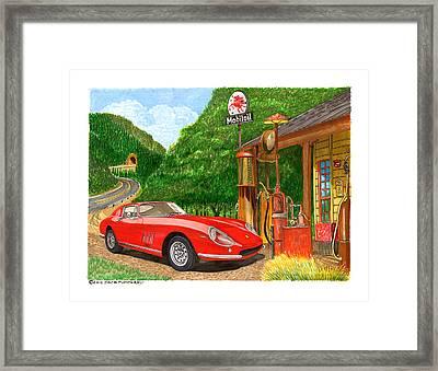 1966 Ferrari 275 G B T Getting Gas Framed Print by Jack Pumphrey