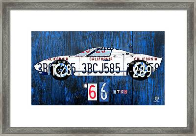 1966 Ford Gt40 License Plate Art By Design Turnpike Framed Print by Design Turnpike