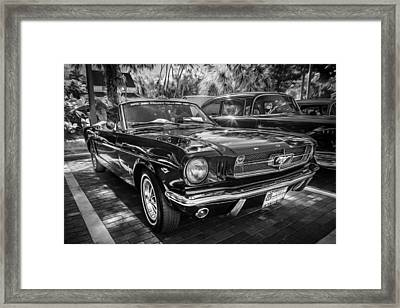 1966 Ford Mustang Convertible Painted Bw    Framed Print by Rich Franco