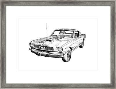 1966 Ford Mustang Fastback Illustration Framed Print by Keith Webber Jr