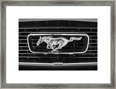 1966 Ford Mustang Grille Emblem -0246bw Framed Print