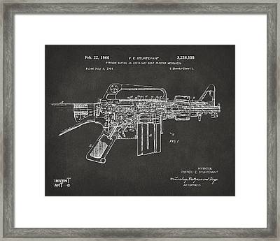 1966 M-16 Gun Patent Gray Framed Print by Nikki Marie Smith