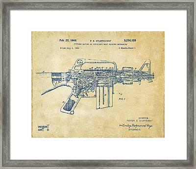 1966 M-16 Gun Patent Vintage Framed Print by Nikki Marie Smith