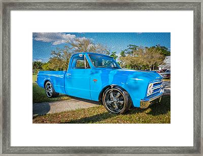 1967 Chevy Silverado Pick Up Truck Painted Framed Print by Rich Franco