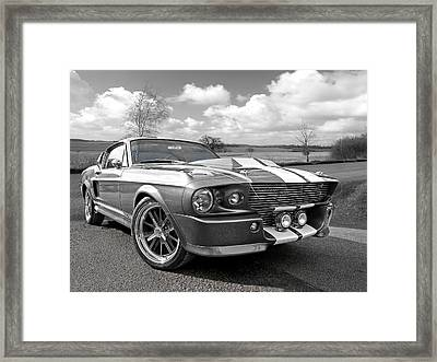 1967 Eleanor Mustang In Black And White Framed Print